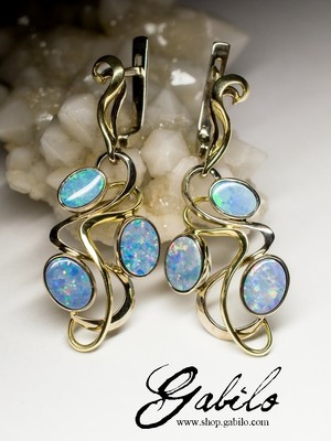 Made to order: Doublet Opal 14K Gold Art Nouveau Earrings