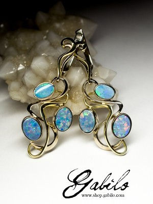 Doublet Opal 14K Gold Art Nouveau Earrings